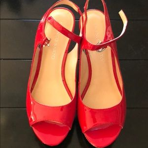 Franco Sarto Red Patent Wedge Sandals